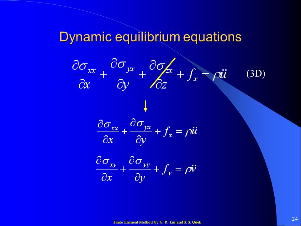 Dynamic equilibrium equations