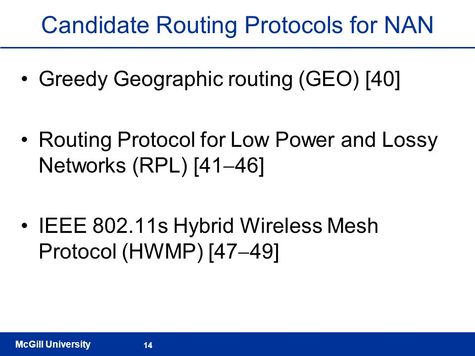 Candidate Routing Protocols for NAN
