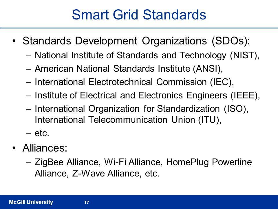 Smart Grid Standards Standards Development Organizations (SDOs):