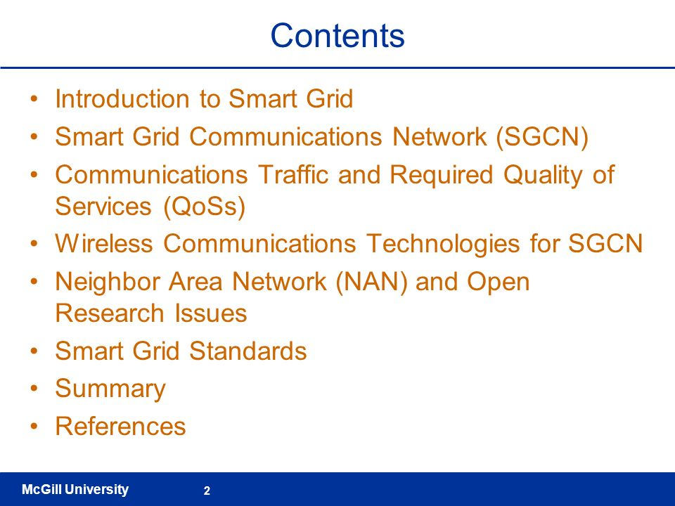 Contents Introduction to Smart Grid