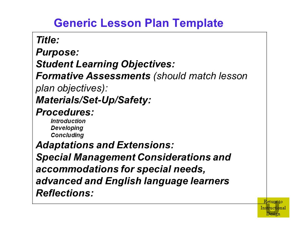 Design your instructional blueprint ppt video online for Generic lesson plan template