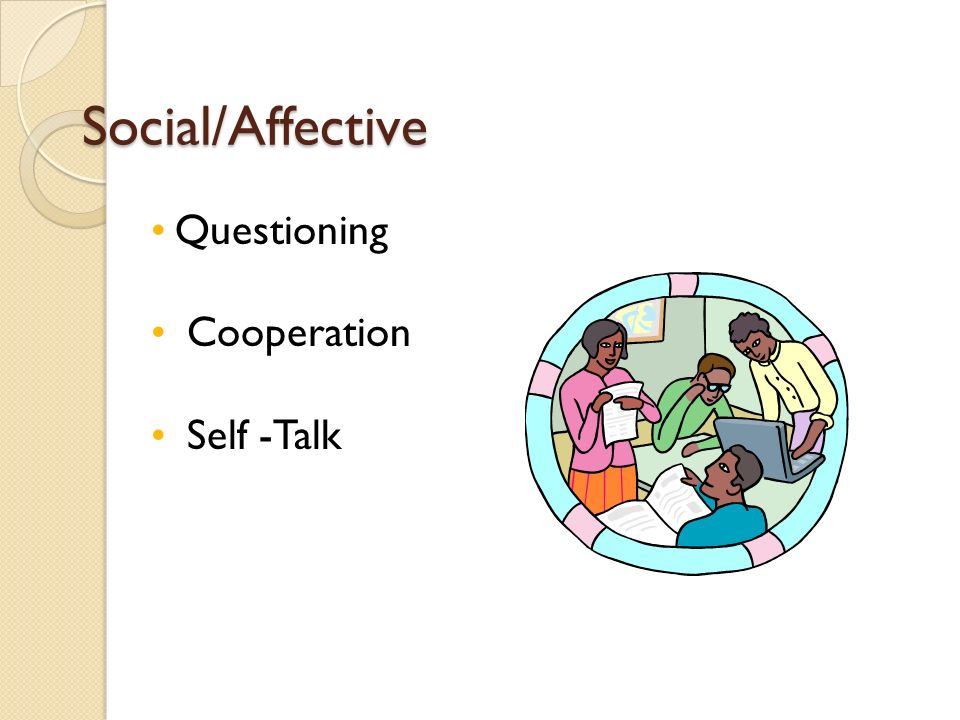 Social/Affective Questioning Cooperation Self -Talk