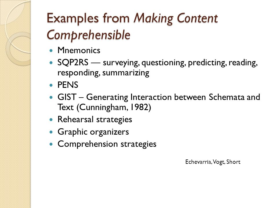 Examples from Making Content Comprehensible