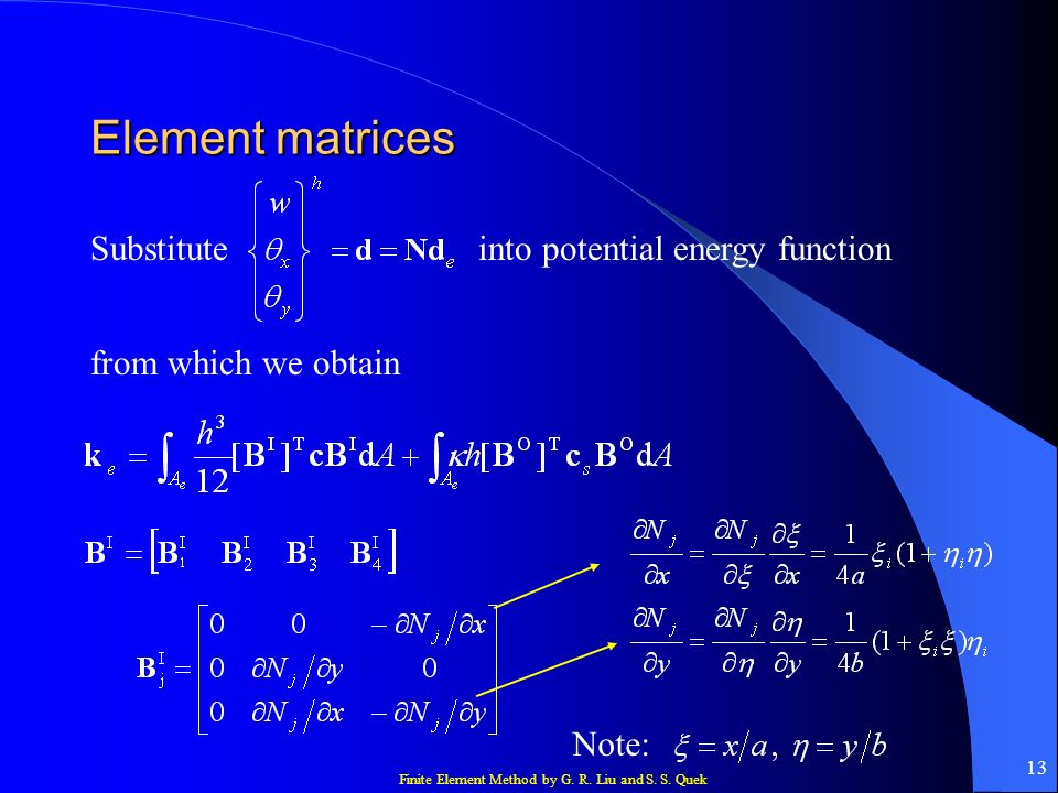 Element matrices Substitute into potential energy function