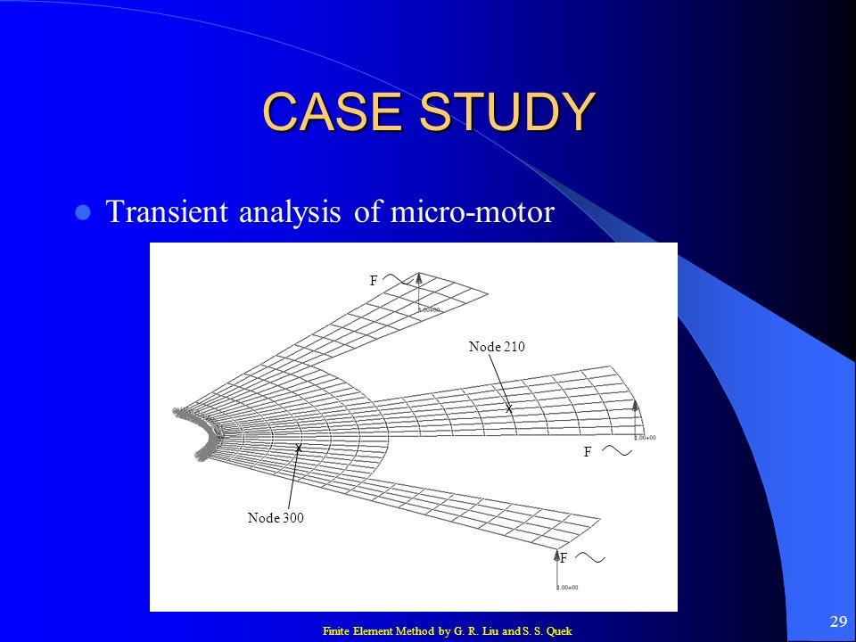 CASE STUDY Transient analysis of micro-motor F Node 210 x x F Node 300