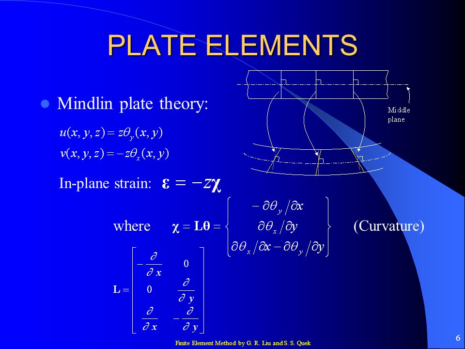 PLATE ELEMENTS Mindlin plate theory: In-plane strain: where