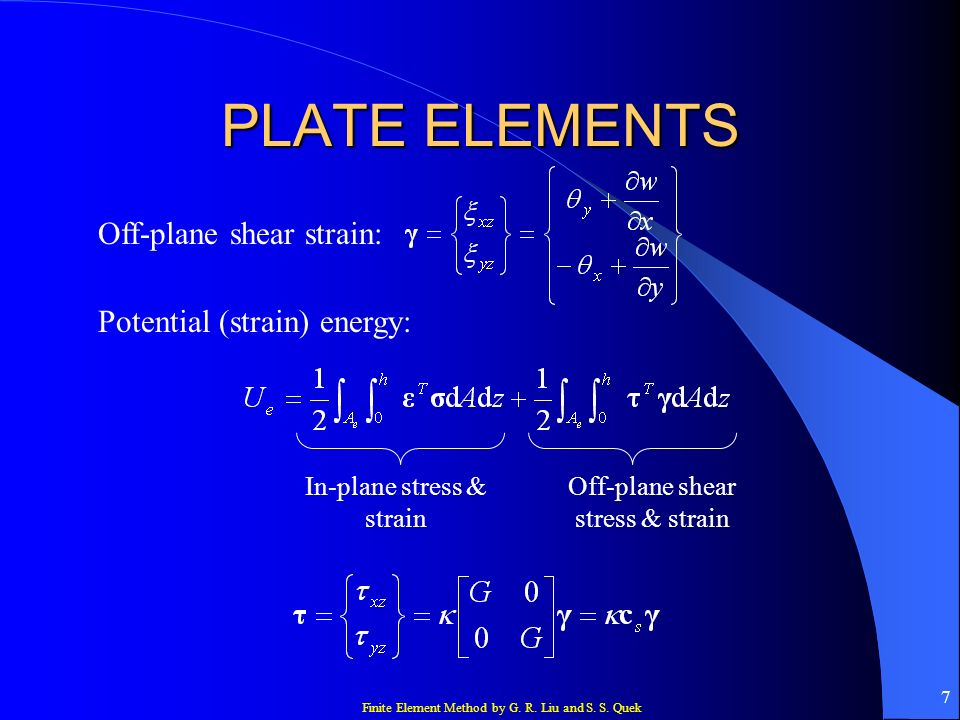 PLATE ELEMENTS Off-plane shear strain: Potential (strain) energy: