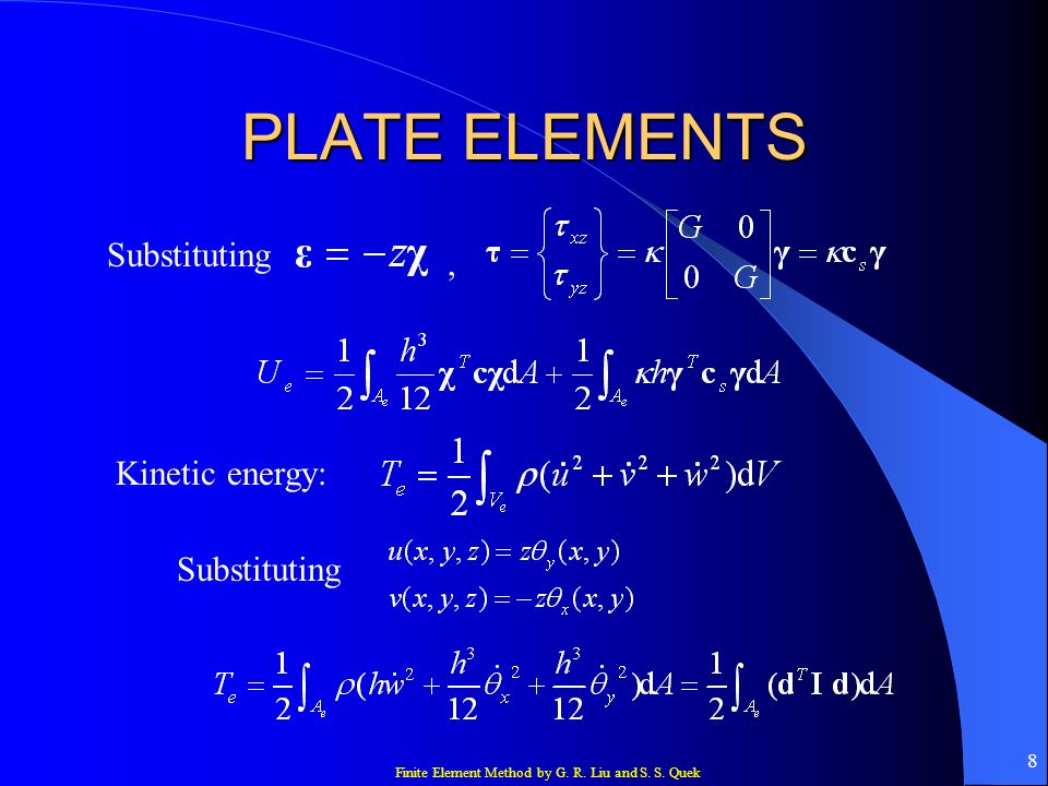 PLATE ELEMENTS Substituting , Kinetic energy: Substituting