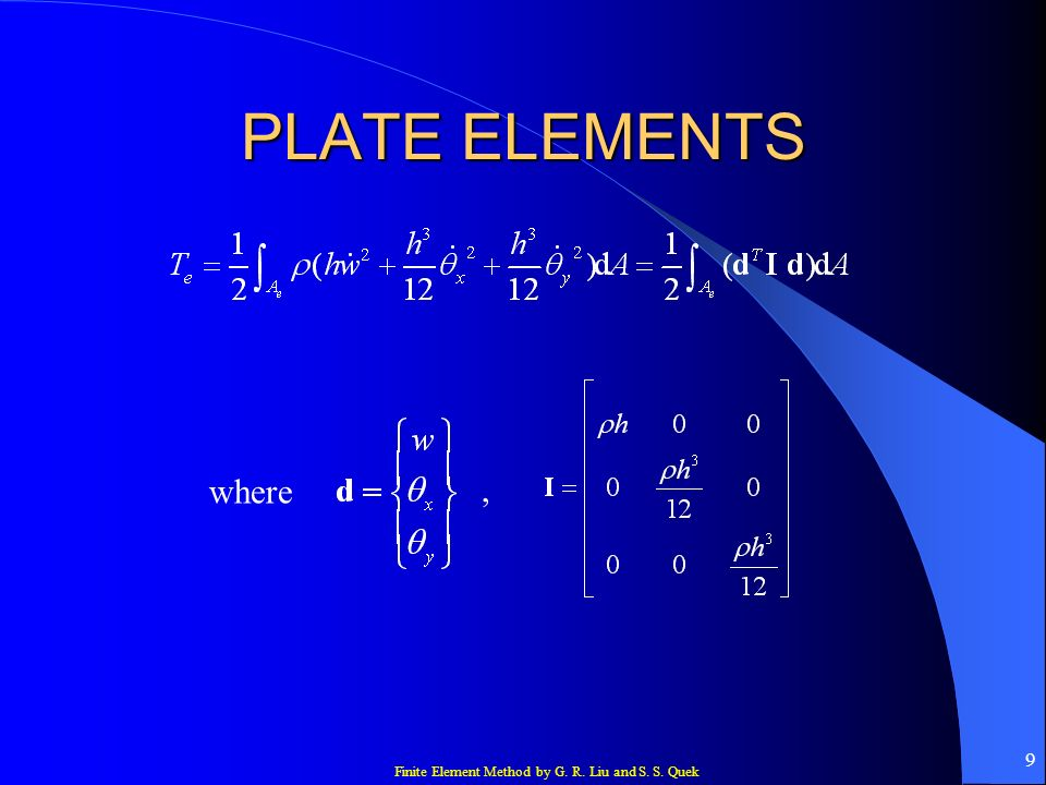 PLATE ELEMENTS where ,