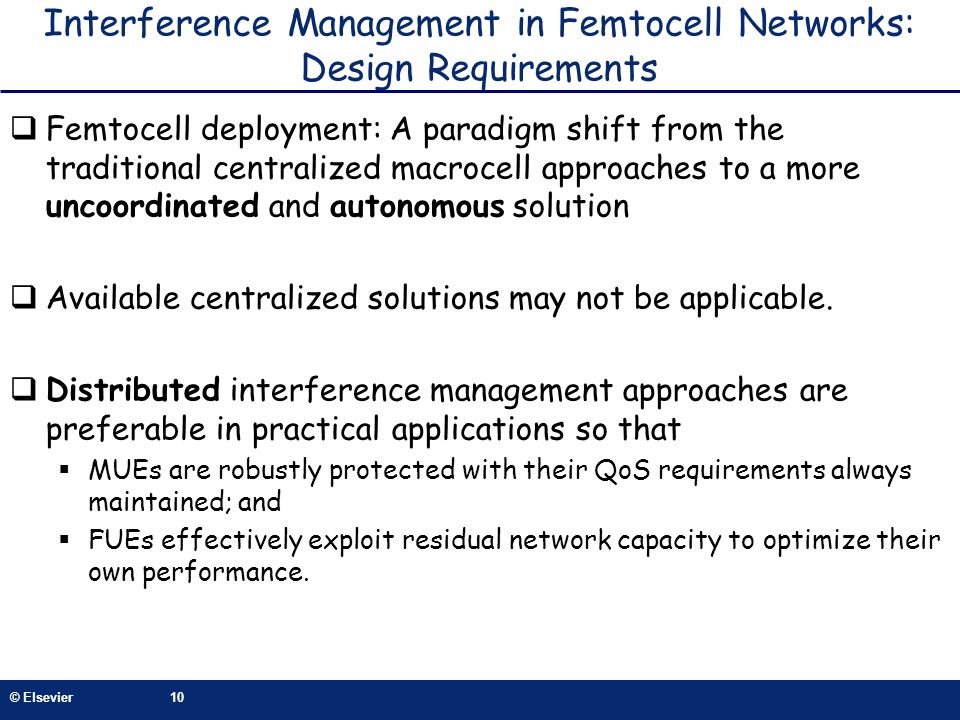 Interference Management in Femtocell Networks: Design Requirements
