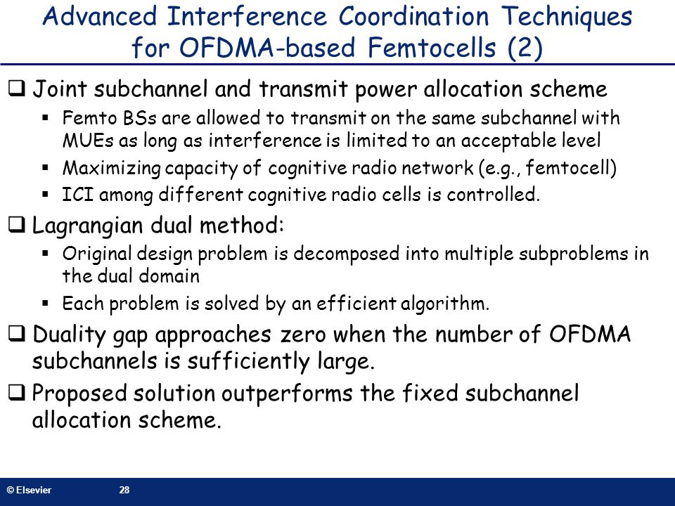 Advanced Interference Coordination Techniques for OFDMA-based Femtocells (2)