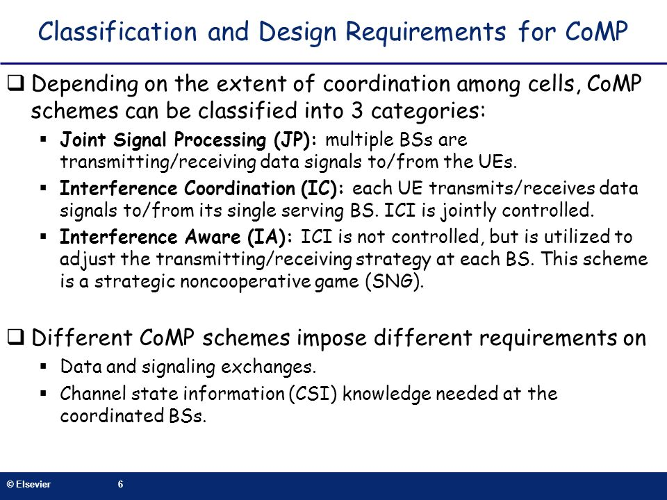 Classification and Design Requirements for CoMP