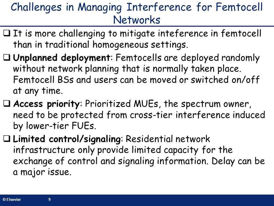 Challenges in Managing Interference for Femtocell Networks