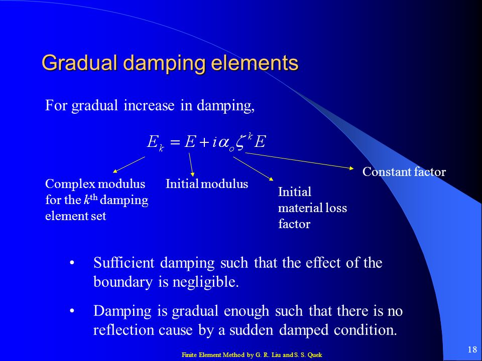 Gradual damping elements