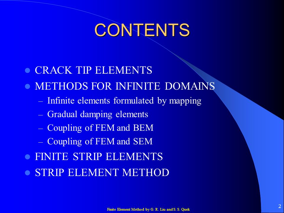 CONTENTS CRACK TIP ELEMENTS METHODS FOR INFINITE DOMAINS