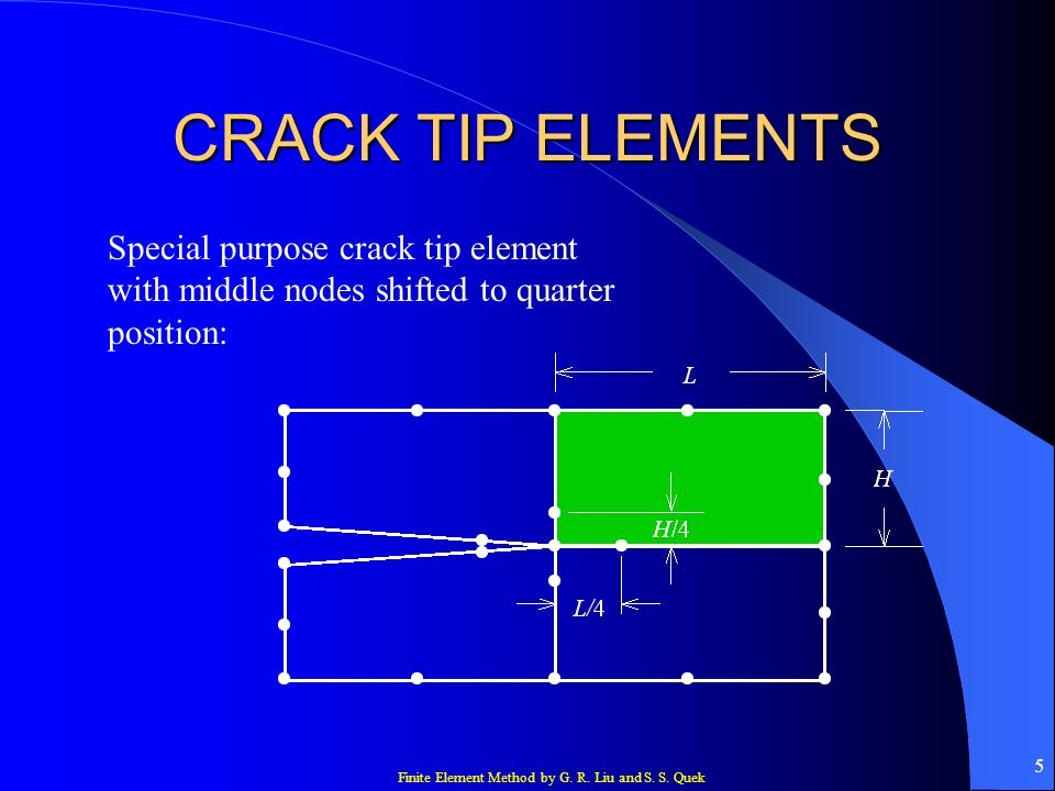 CRACK TIP ELEMENTS Special purpose crack tip element with middle nodes shifted to quarter position: