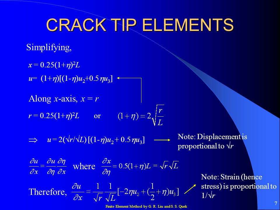 CRACK TIP ELEMENTS Simplifying, Along x-axis, x = r  where Therefore,