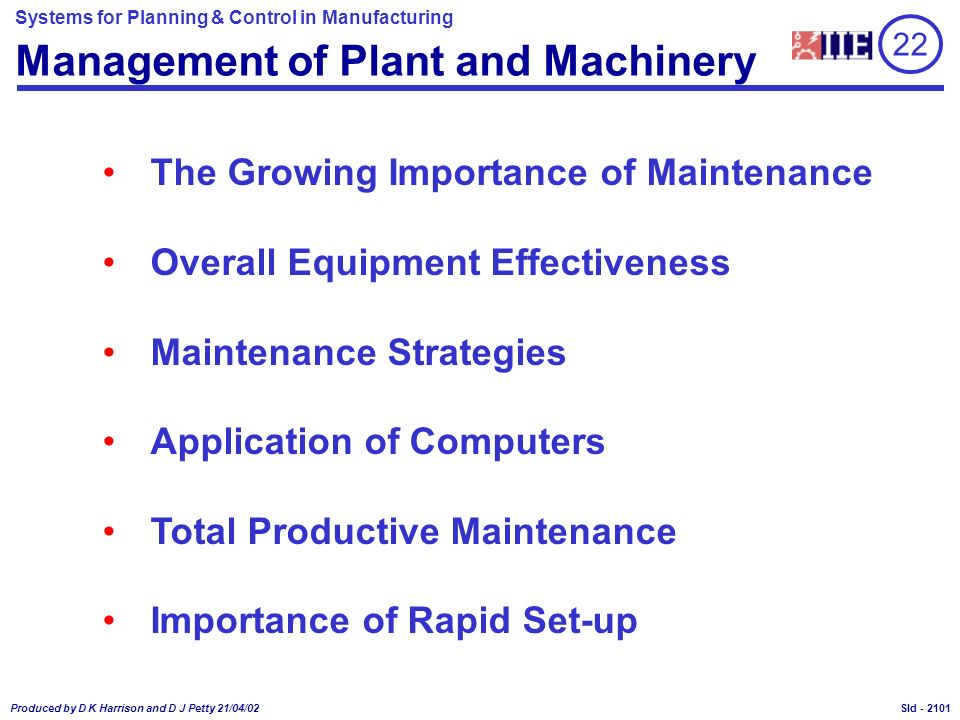 Management of Plant and Machinery