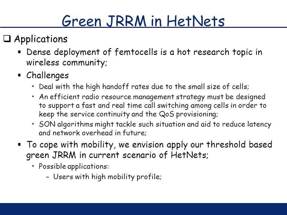 Green JRRM in HetNets Applications