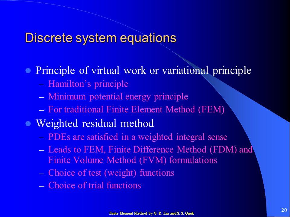 Discrete system equations