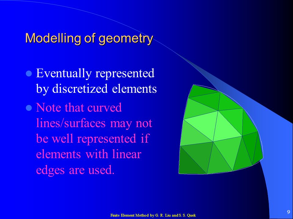 Modelling of geometry Eventually represented by discretized elements.