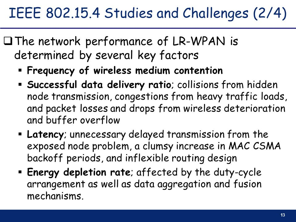 IEEE 802.15.4 Studies and Challenges (2/4)