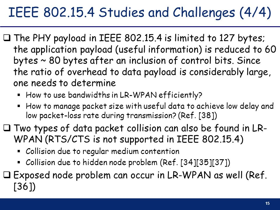IEEE 802.15.4 Studies and Challenges (4/4)