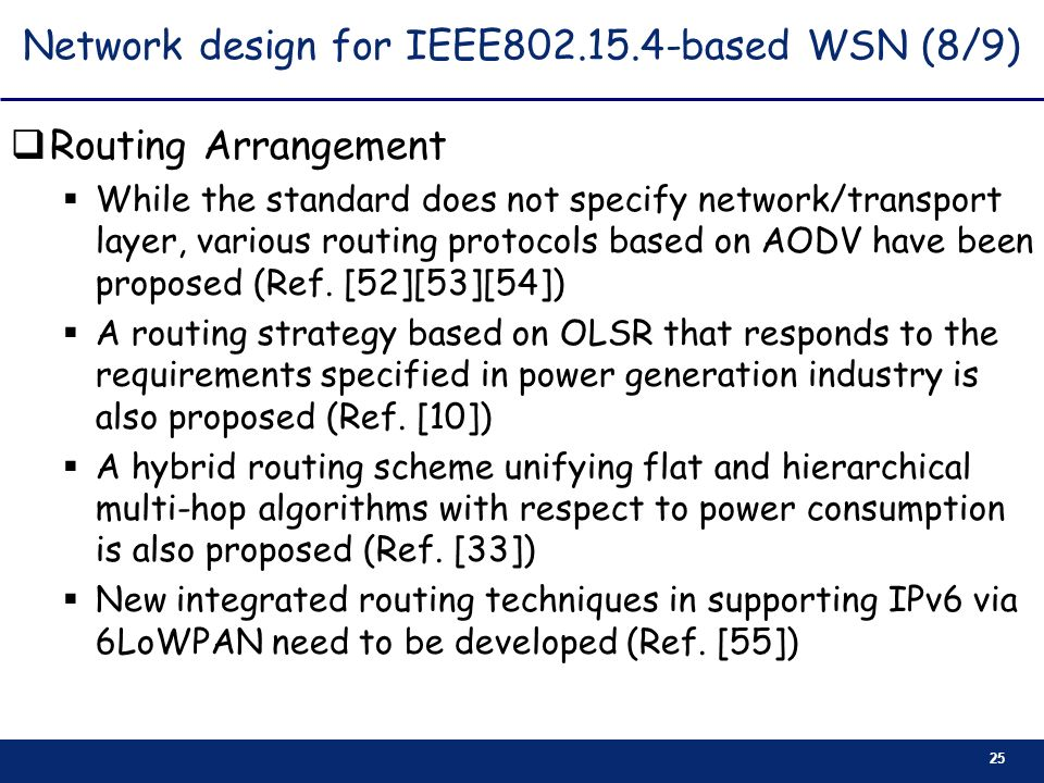 Network design for IEEE based WSN (8/9)