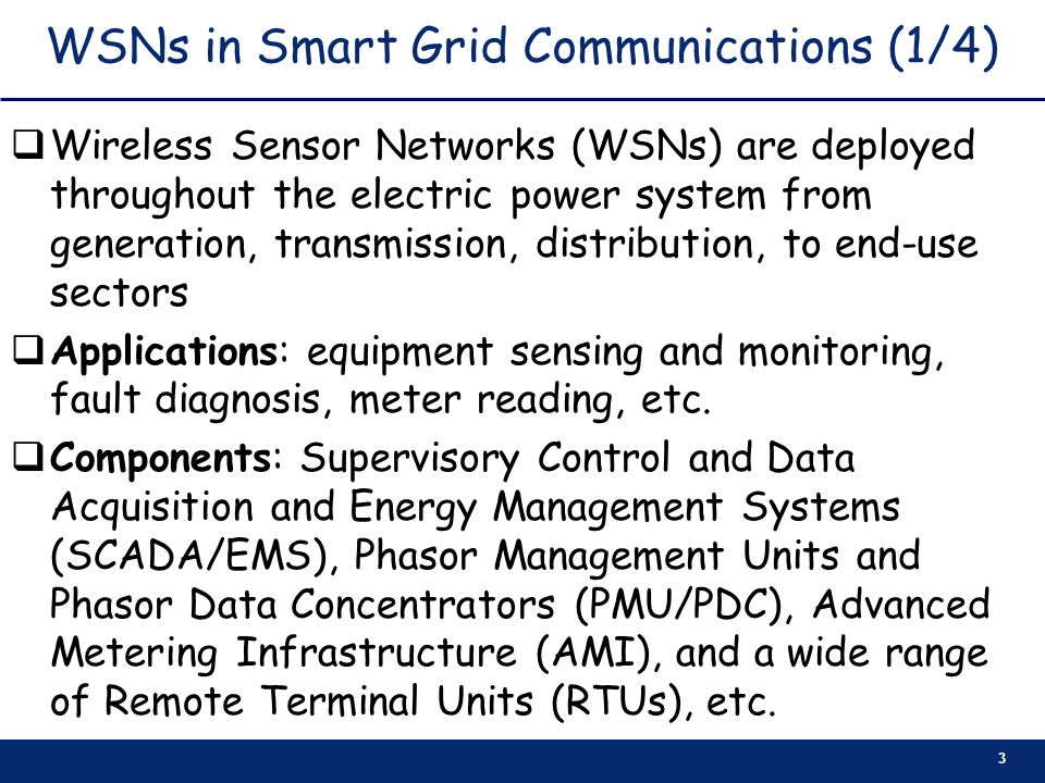 WSNs in Smart Grid Communications (1/4)