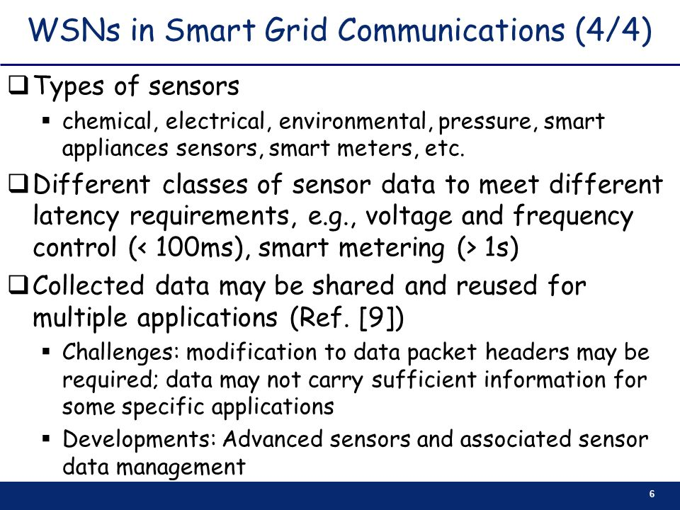 WSNs in Smart Grid Communications (4/4)