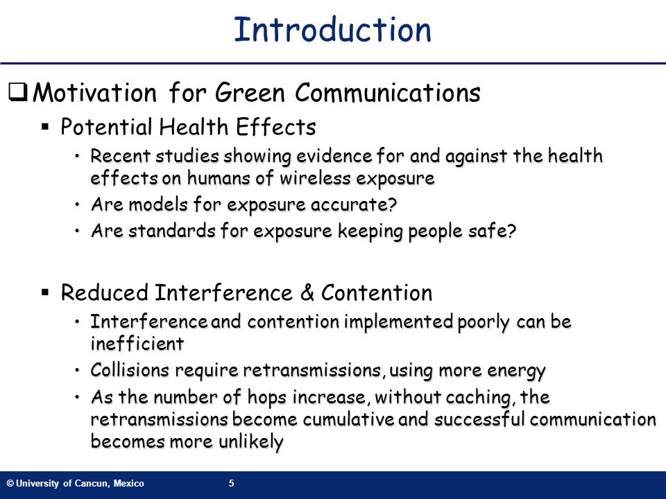 Introduction Motivation for Green Communications