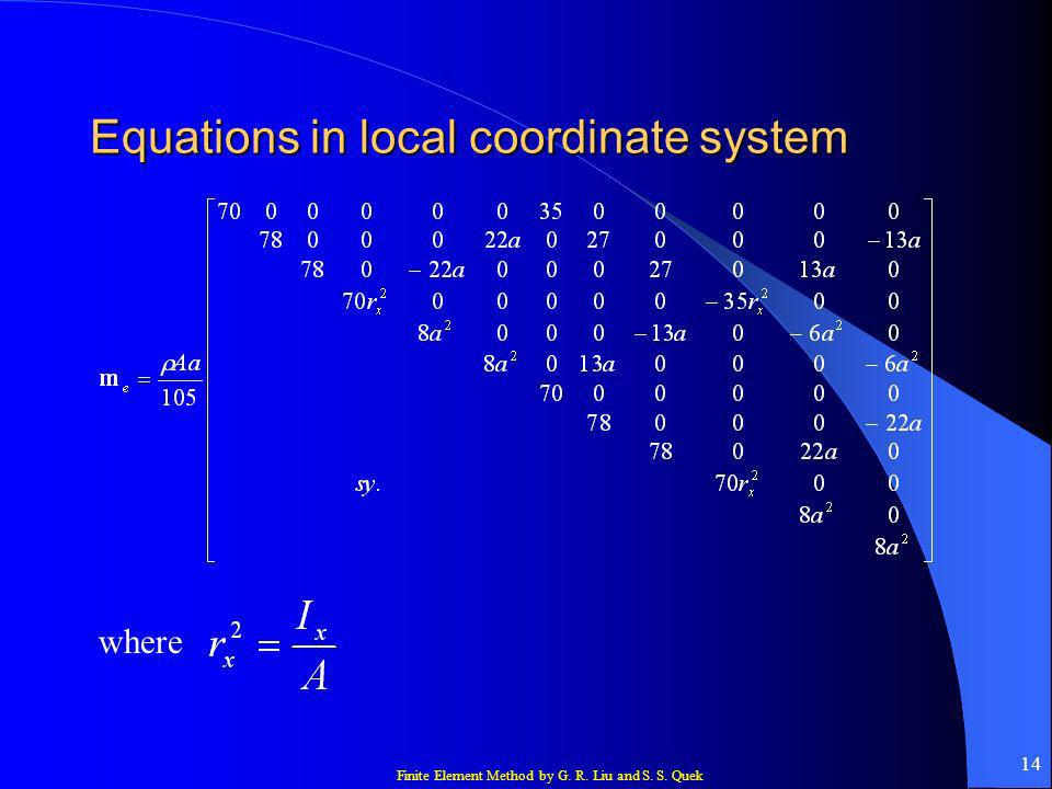 Equations in local coordinate system