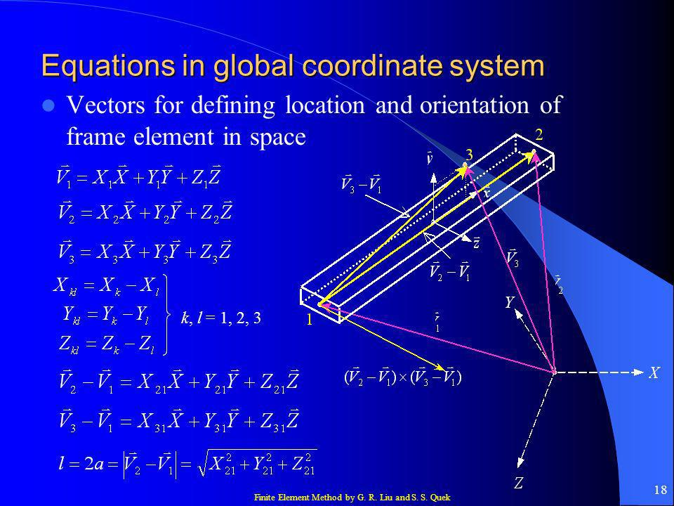 Equations in global coordinate system