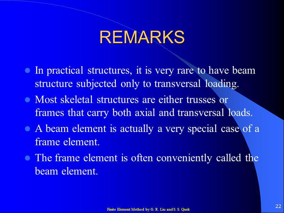 REMARKS In practical structures, it is very rare to have beam structure subjected only to transversal loading.