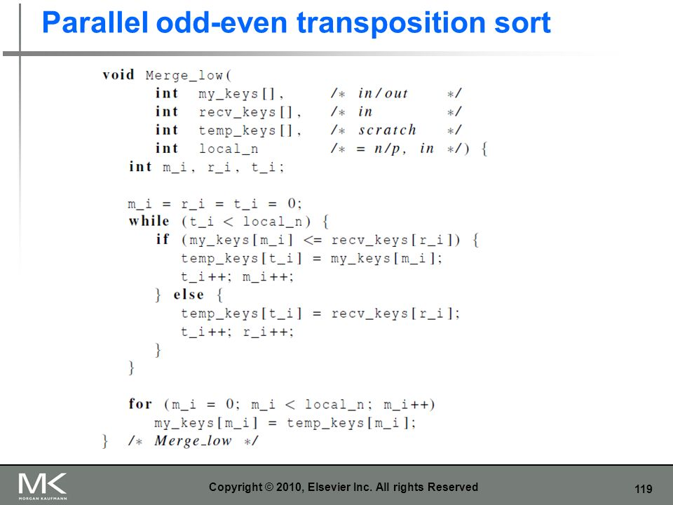 Parallel odd-even transposition sort