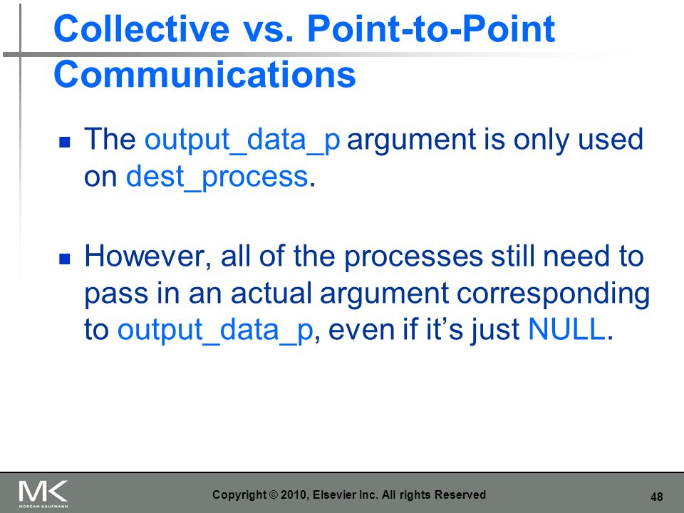 Collective vs. Point-to-Point Communications