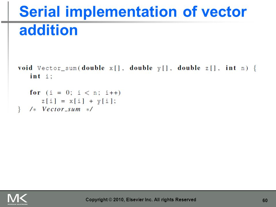 Serial implementation of vector addition
