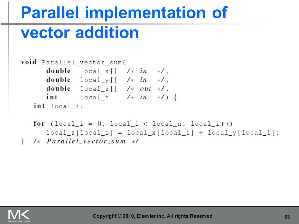 Parallel implementation of vector addition