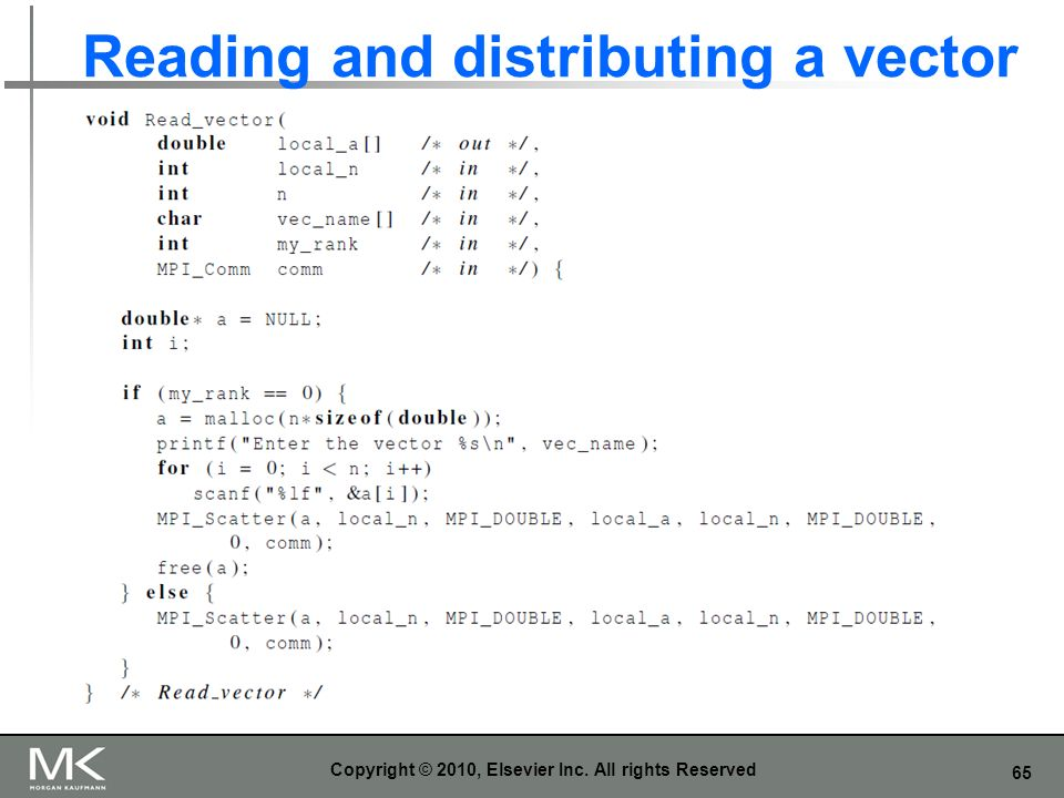 Reading and distributing a vector
