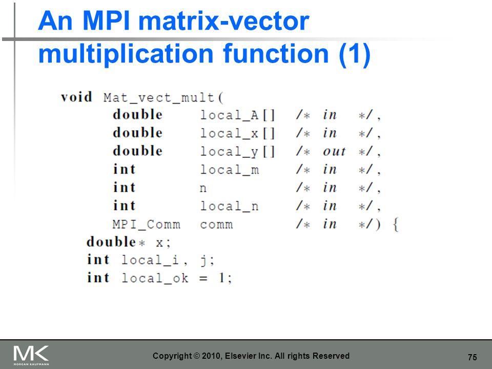 An MPI matrix-vector multiplication function (1)