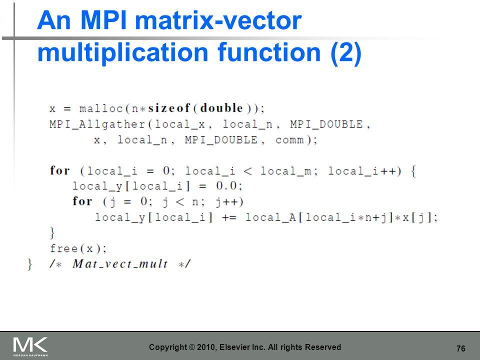 An MPI matrix-vector multiplication function (2)