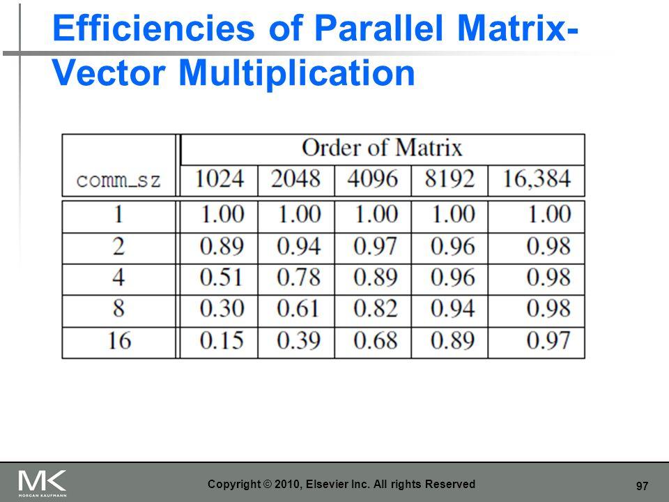 Efficiencies of Parallel Matrix-Vector Multiplication