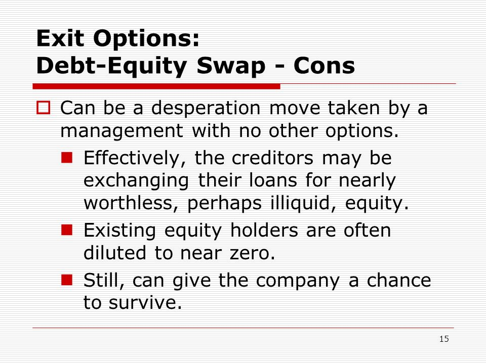 Exit Options: Debt-Equity Swap - Cons