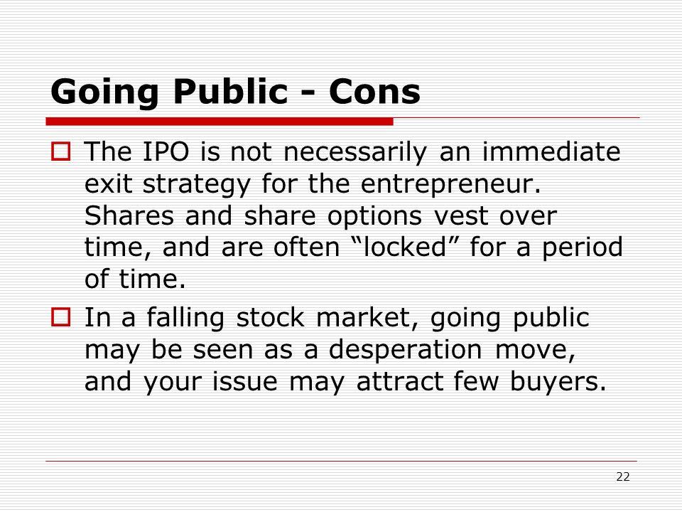 Going Public - Cons