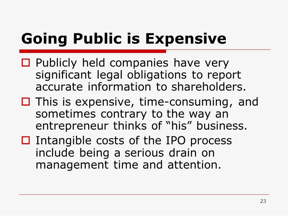 Going Public is Expensive