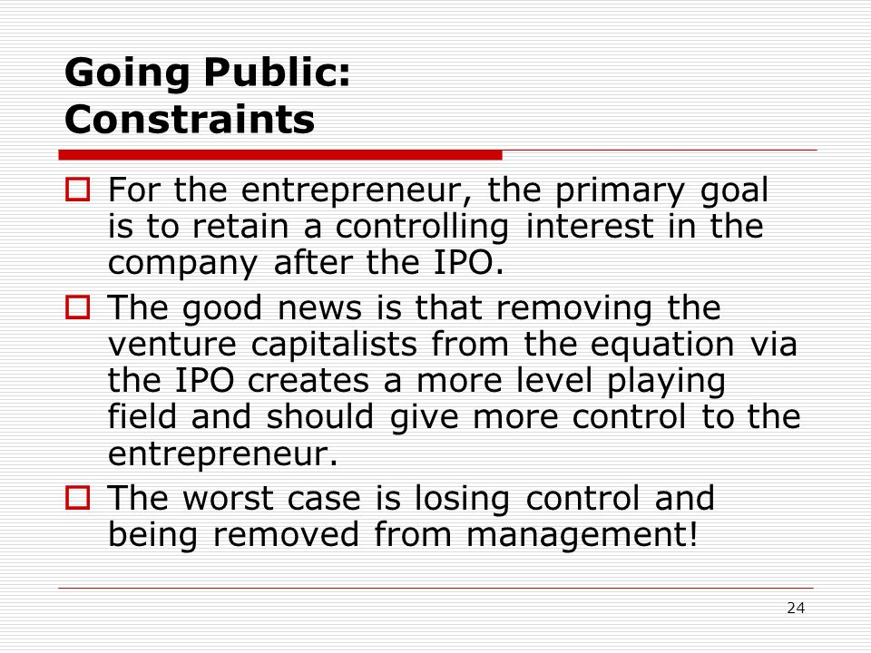 Going Public: Constraints