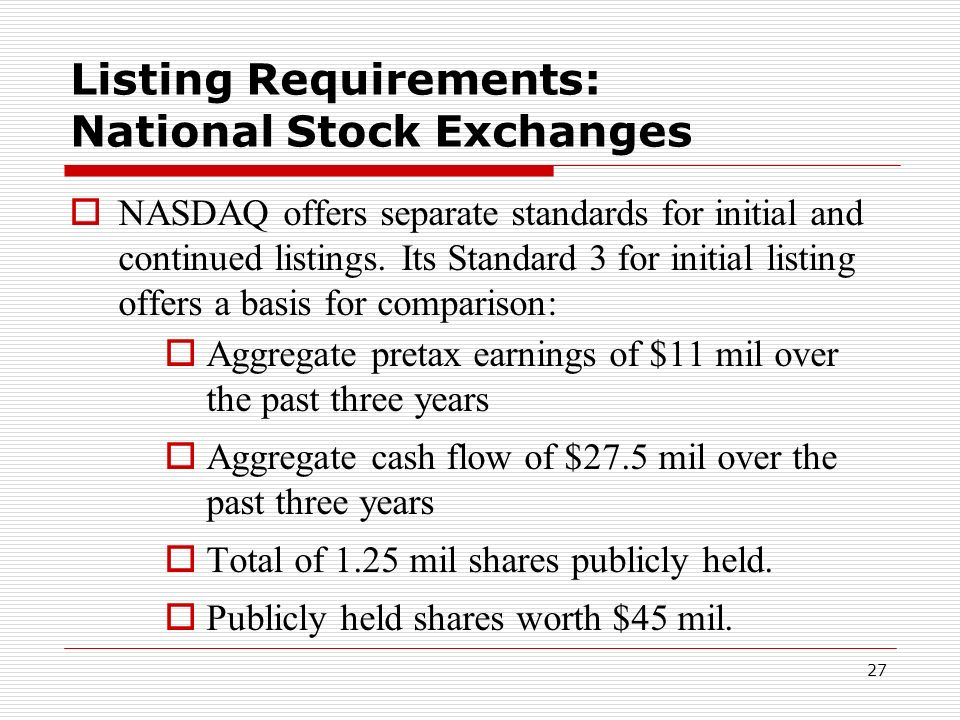 Listing Requirements: National Stock Exchanges