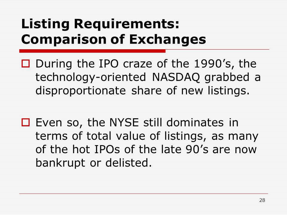 Listing Requirements: Comparison of Exchanges