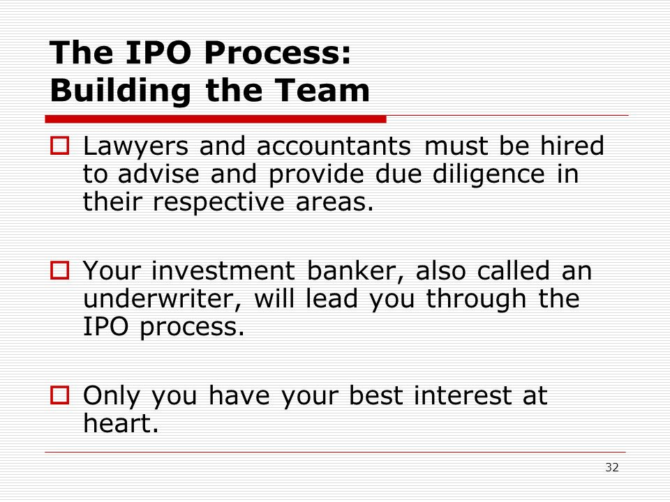 The IPO Process: Building the Team