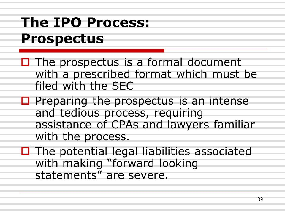 The IPO Process: Prospectus